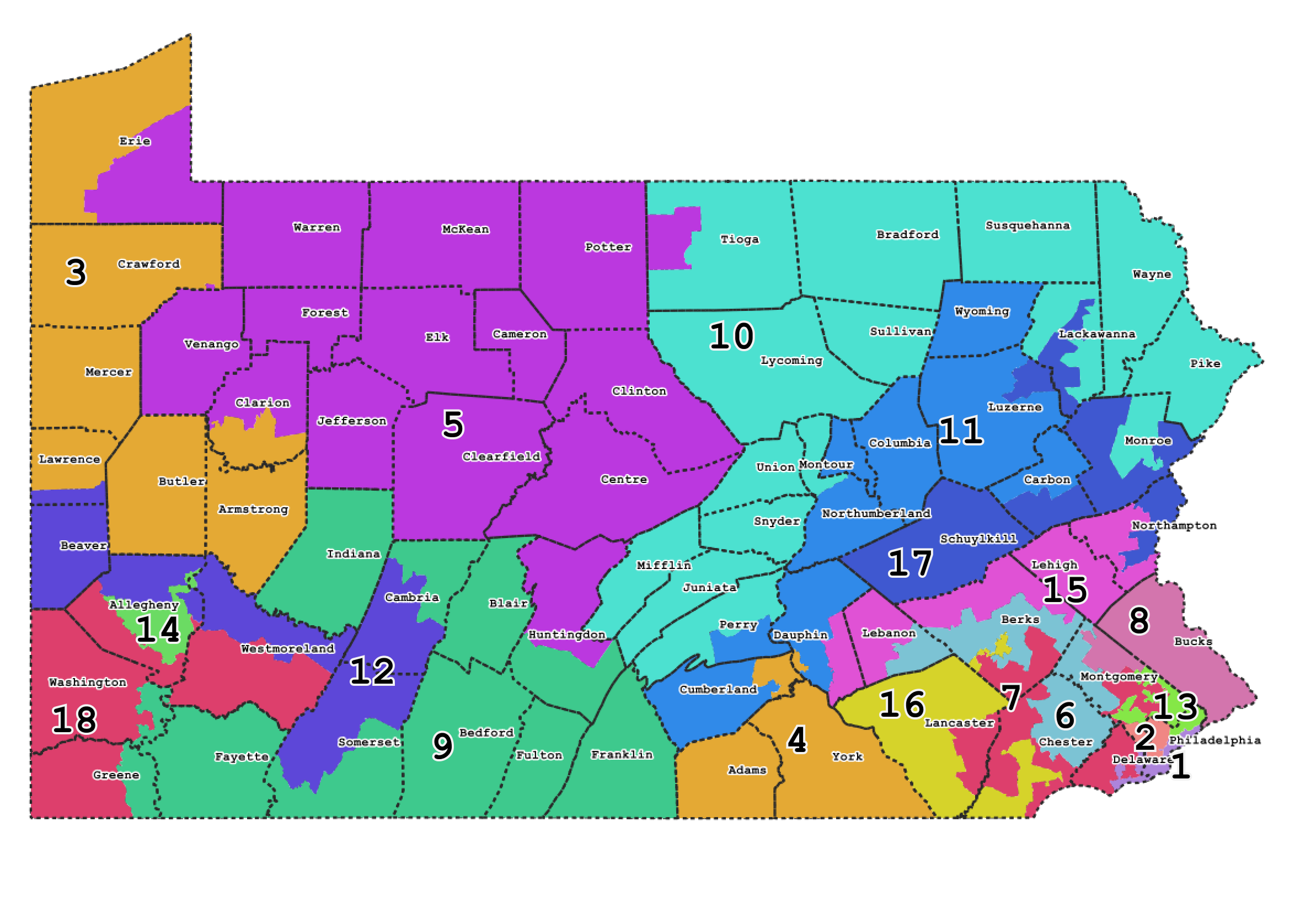 Exploring Pennsylvanias Gerrymandered Congressional Districts - Pa map